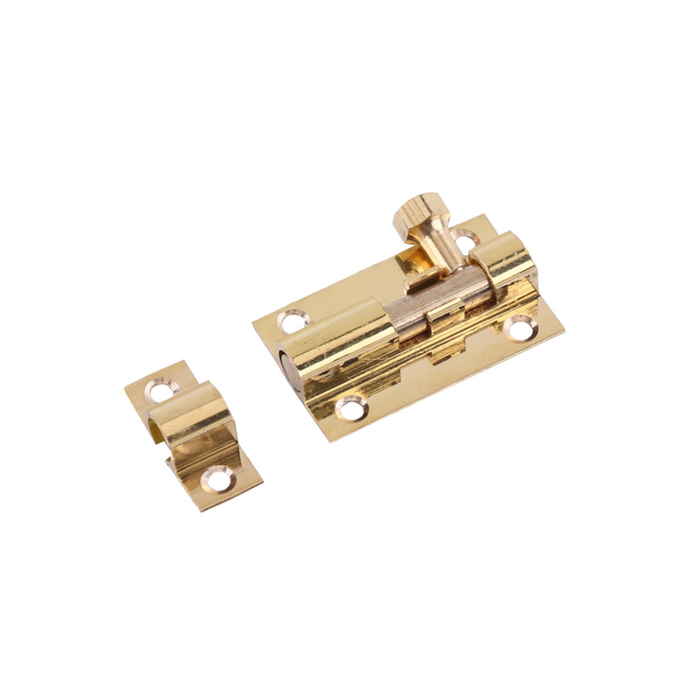 Practical Tool Store Durable Brass Door Slide Lock Catch Security Latch Sliding Lock Home Gate Safety Hardware 4 size Optional+Screw