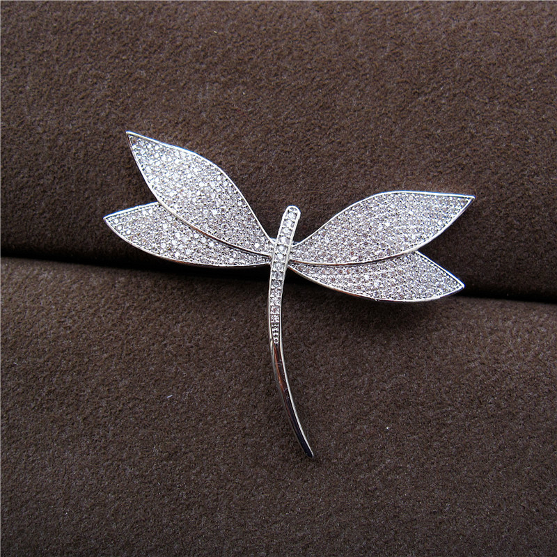 Hot sale Fashion AAA cubic zirconia pave setting dragonfly shaped brooch,womens accessaries,B4182