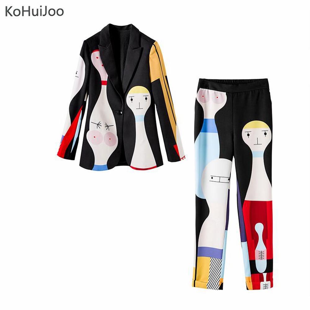 KoHuiJoo Runyway Vestito di Pantaloni di Modo Delle Donne Rappezzatura Del Fumetto di Stampa High Street A Manica Lunga Giacca Sportiva e Pantaloni Set 2 Pezzi - 5