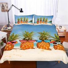 3D print Bedding set pineapple sunglasses beach sea water fr