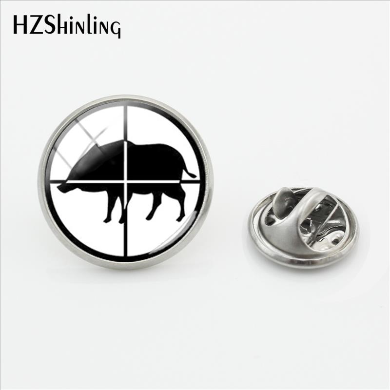 2019 New Wild Boar Hunting Logo Pin Stainless Steel Hunting Lapel Pin Glass Cabochon Handmade Jewelry