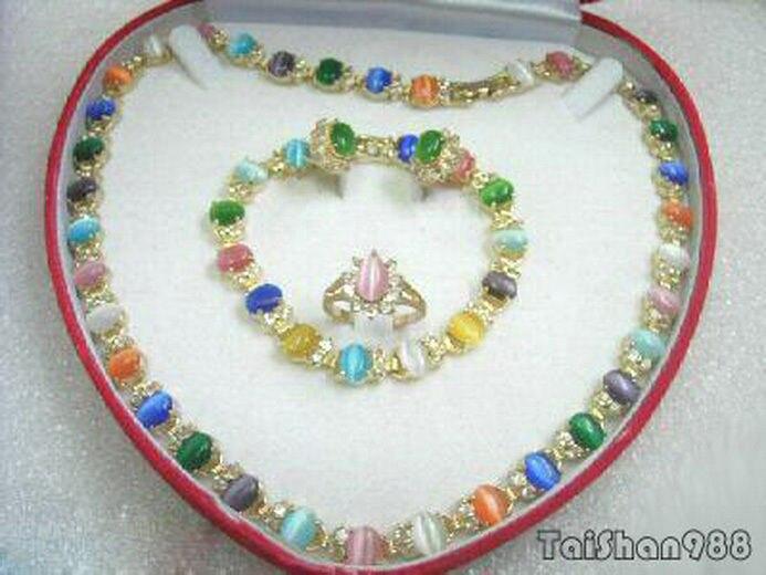 Vente chaude Livraison Gratuite>> Multicolore Vert Rose Violet Opale 18KGP Cristal Collier Bracelet Bague Boucles D'oreilles