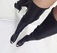 hot selling open toe black leather over the knee boots woman shoes high quality thigh high boots