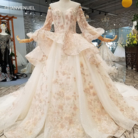 LS307741 new design wedding dresses with peplum flare long sleeve floor length or 100cm train china factory wholesale real price