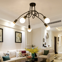 Loft Spider Ceiling Lights E27 Lamp Modern Creative Home Lighting Multiple Wrought Iron Fixtures Ding Room