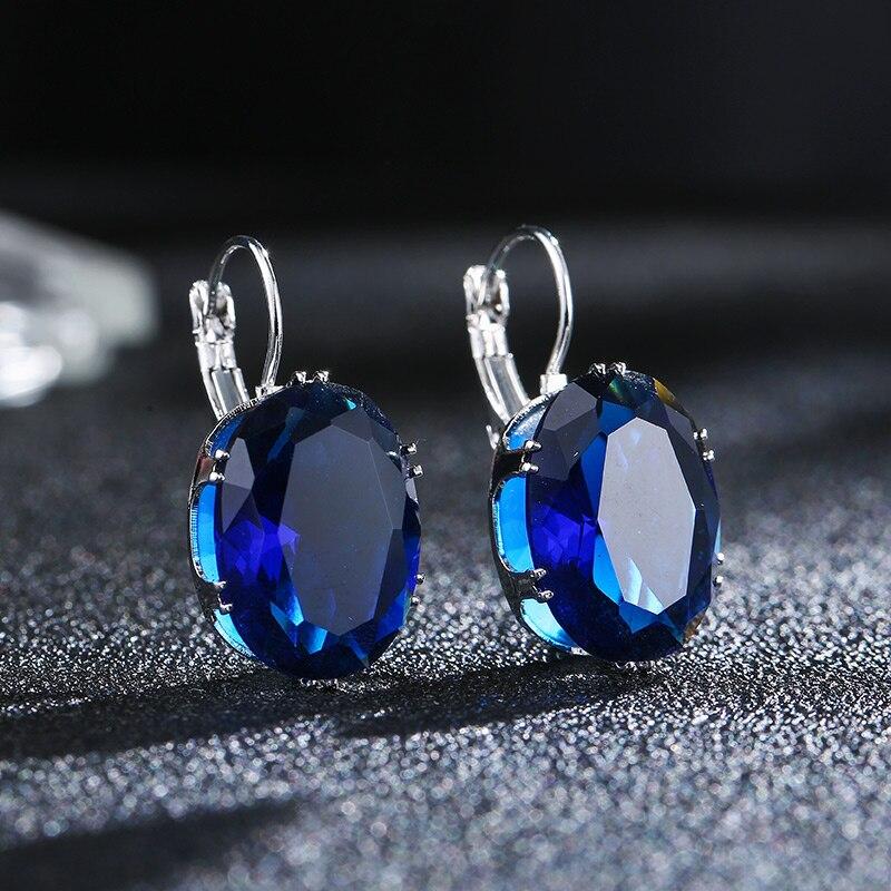 CARSINEL 5 farver Big Oval Zircon Hoop øreringe til kvindemode 13 * - Mode smykker - Foto 4