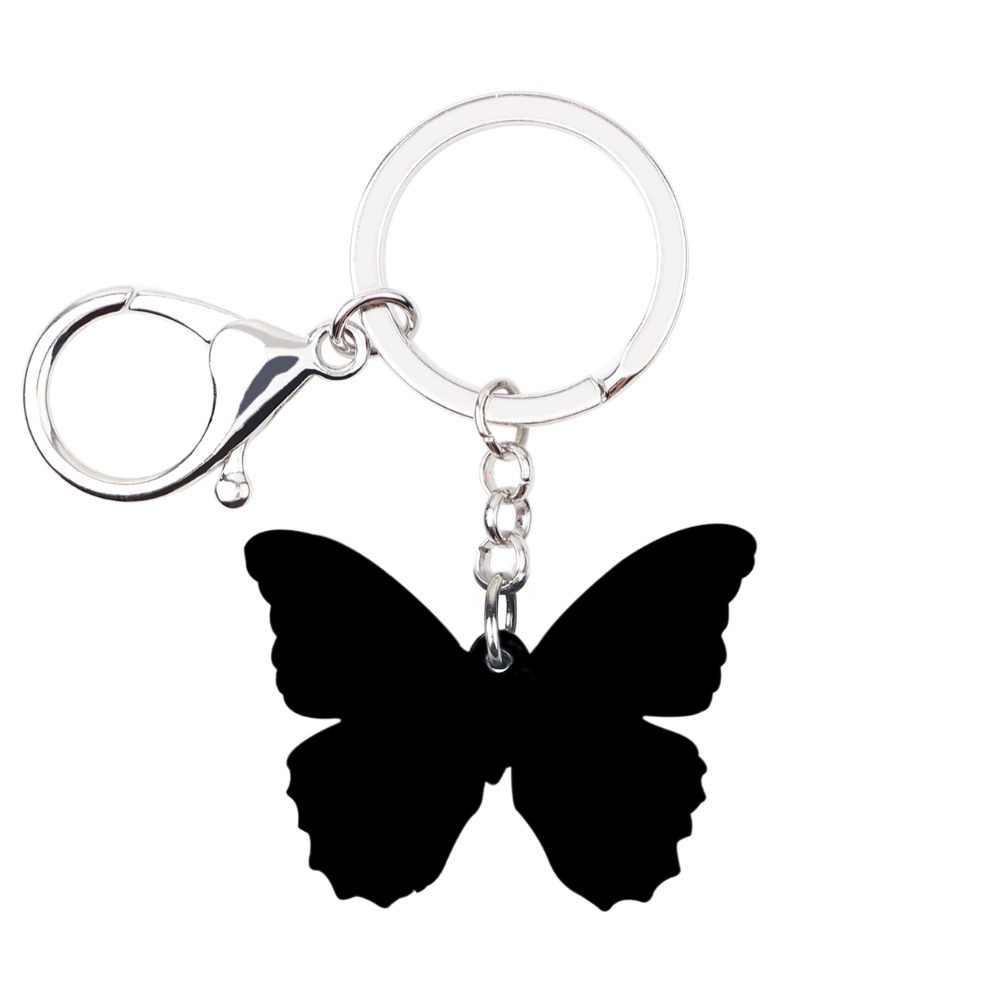 WEVENI acrílico Tropic manchado mariposa llaveros llavero anillos insectos joyería para mujeres niñas colgante fiesta coche verano dijes