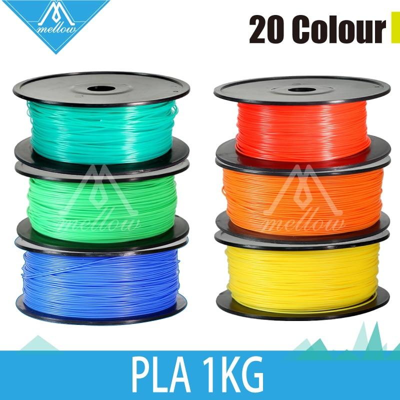 Livraison gratuite 1 kg/rouleau 20 couleur 3d filaments d'imprimante PLA 1.75mm/3mm En Caoutchouc Consommables Matériel makerBot/RepRap/UP/Mendel