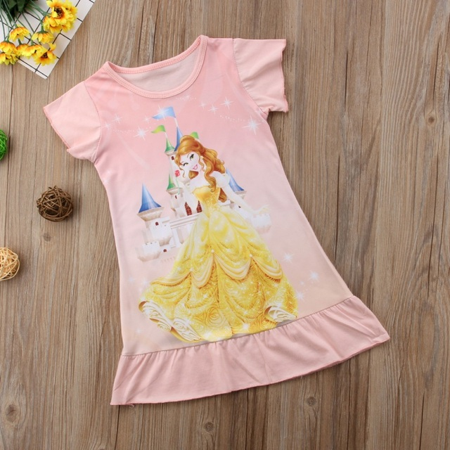 ebbc40a1f8521 Enfant en bas âge bébé filles raiponce Belle aurore princesse imprimé coton  robe de soirée bébé