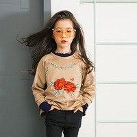 2017 Spring Autumn Flower T Shirt Girls Long Sleeve T Shirt Mother Girls Embroidered Flower Coffee