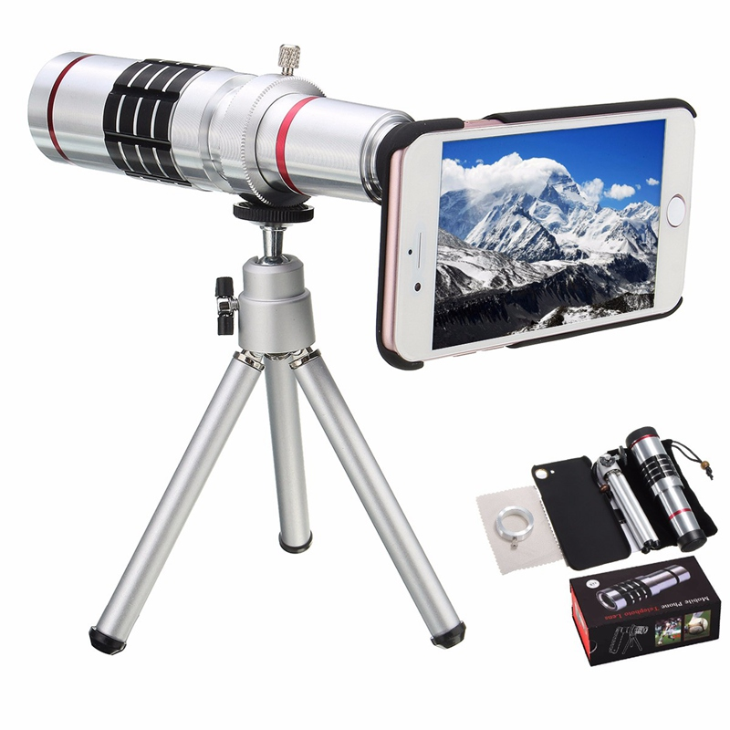 imágenes para Multifunción 18x zoom telescopio de metal teléfono soporte de lente teleobjetivo lente de la cámara kit trípode con el caso trasero para el iphone 7 lente