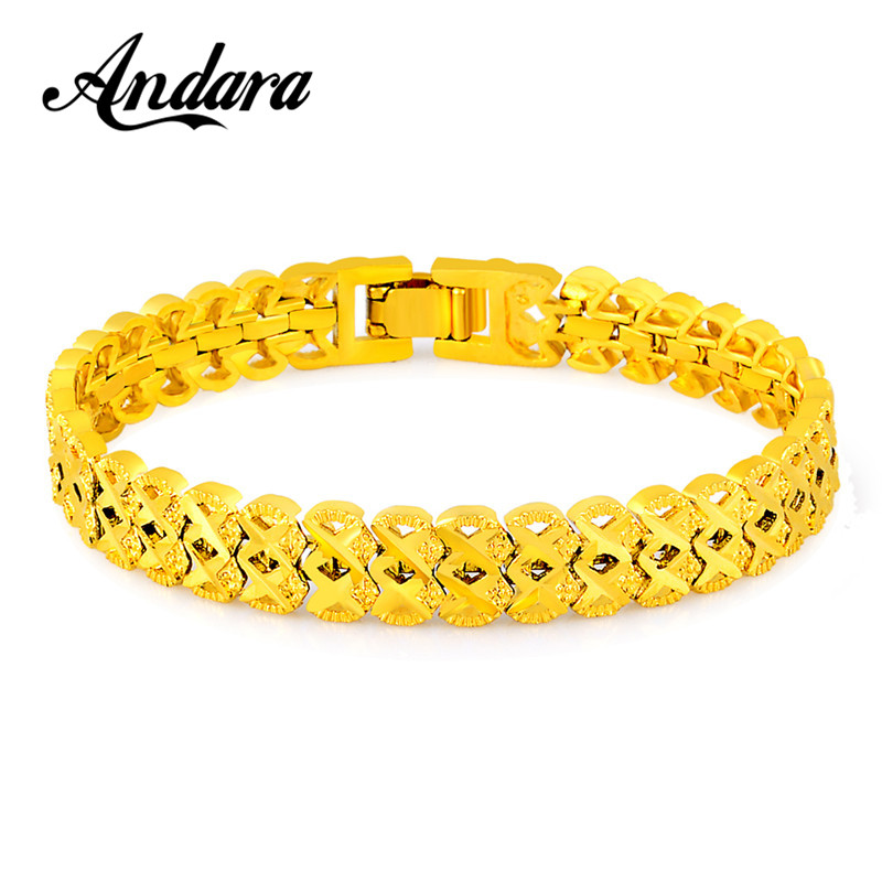Hospitable Luxury Brand Gold Color Chain Link Bracelet For Women Men Vintage Fashion Jewelry Bracelets Pulseira Gift Jh111