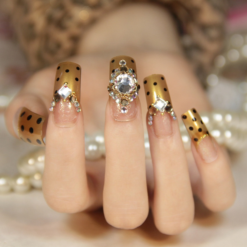 Flat Top Fake Nails Pre Designed Gold Clear Long Size Large Stones Manicure Nail Decoration Z129 In False From Beauty Health On Aliexpress