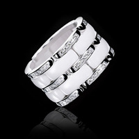 trency soft ceramic ring stainless steel two row cubic zircon ring silver famous brand Knuckle Rings For Women