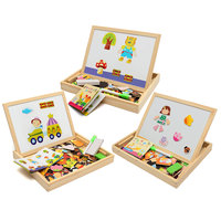 New Arrival Drawing Writing Board Magnetic Puzzle Double Easel Kid Wooden Toy Gift Children Intelligence Development
