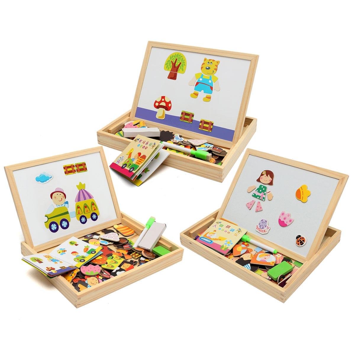 Nueva llegada dibujo tablero de escritura magnético de rompecabezas doble caballete Niño de juguete de madera, regalo de los niños desarrollo de la inteligencia de juguete