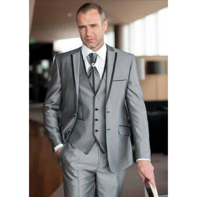 costume mariage homme 2016 custom made argent 3 pi ce slim convient costumes smoking costumes de. Black Bedroom Furniture Sets. Home Design Ideas