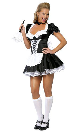 S 3Xl 2 Pc Sexy Plus Size French Maid Costume Lolita -1974