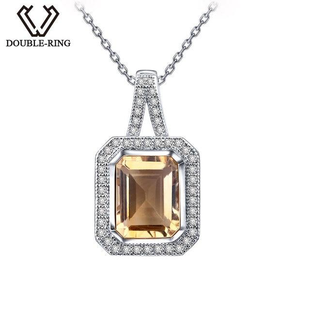DOUBLE-R 925 Sterling Silver Female Pendants Natural Citrine Necklaces Pendants Women Classic Fine Jewelry Customized CASP00761D