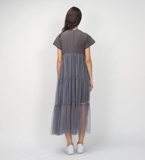 CHICEVER  Summer Korean Plus Size Splicing Pleated Mesh T shirt Dress Women  Black Gray 2d0405fdc7c5