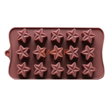 Silicone molds new 15 lattices star shape DIY chocolate mold ice cube silicone jelly mold SICM-115-3(China)