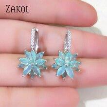 ZAKOL Cute Romantic Lovely Clear Stone Flower Convenient Simple Earrings Copper Cubic Zirconia For Women Party FSEP2120