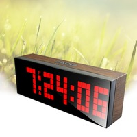 Led Wood Grain Digital Clock Large Led Digits Use For Table or Wall Clock,