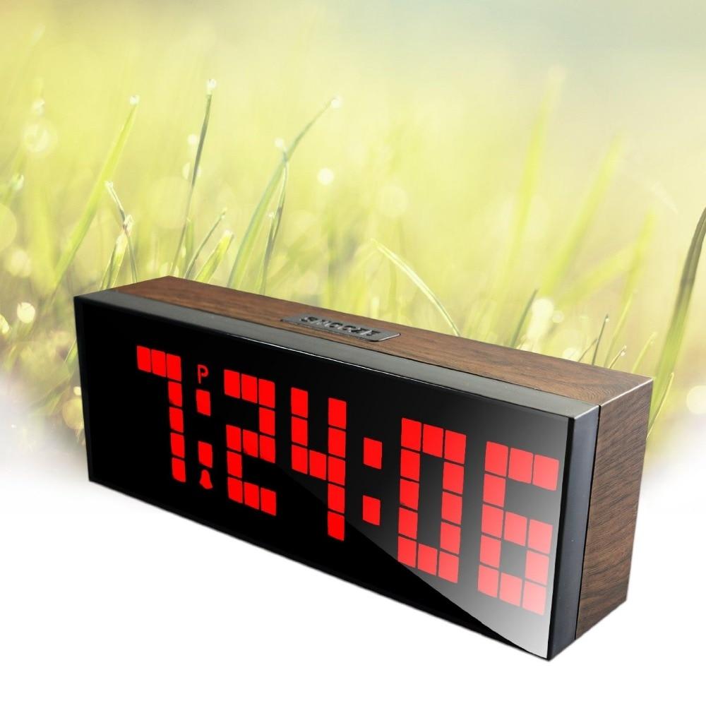Horloge numérique Led à Grain de bois à gros chiffres à Led pour horloge de Table ou murale,
