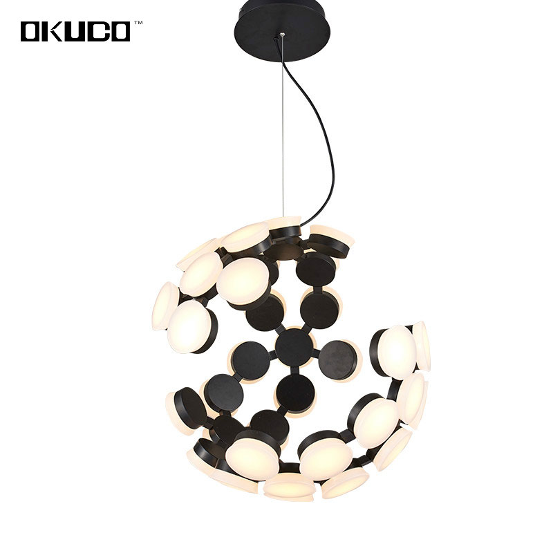 LED Modern Pendant Lights Acrylic Ball Lampshade Earth Design Lamp For Dining Living Room Black 15-30 Meters Lustres Decoration 40cm acrylic round hanging modern led pendant light lamp for dining living room lighting lustres de sala teto