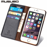 Laumans Genuine Leather Luxury Mobile Phone Case For 6S IPhone 5 5S SE Wallet Cover Cases