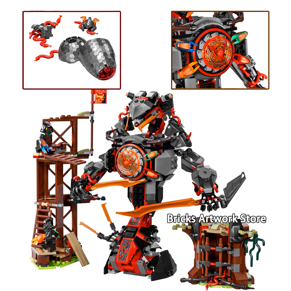 Fit Ninjagoes <font><b>70626</b></font> Dawn of Iron Doom Mech Set Mini Figures Zane Floyd WU JAY Kai DIY Building Blocks Toys for Children Gifts image