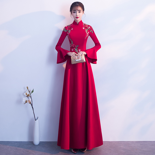 cb668e54a4 Modern Cheongsam Red Embroidery Qipao Long Chinese Wedding Dress Women  Traditional Evening Gown Bridesmaid Dresses Wine