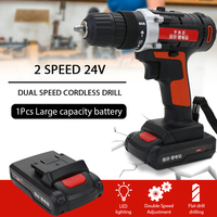 12V/24V Detachable Lithium Battery Power Electric Drills Cordless Rechargeable Home Mini Size 2 Speed cordless drill power tools