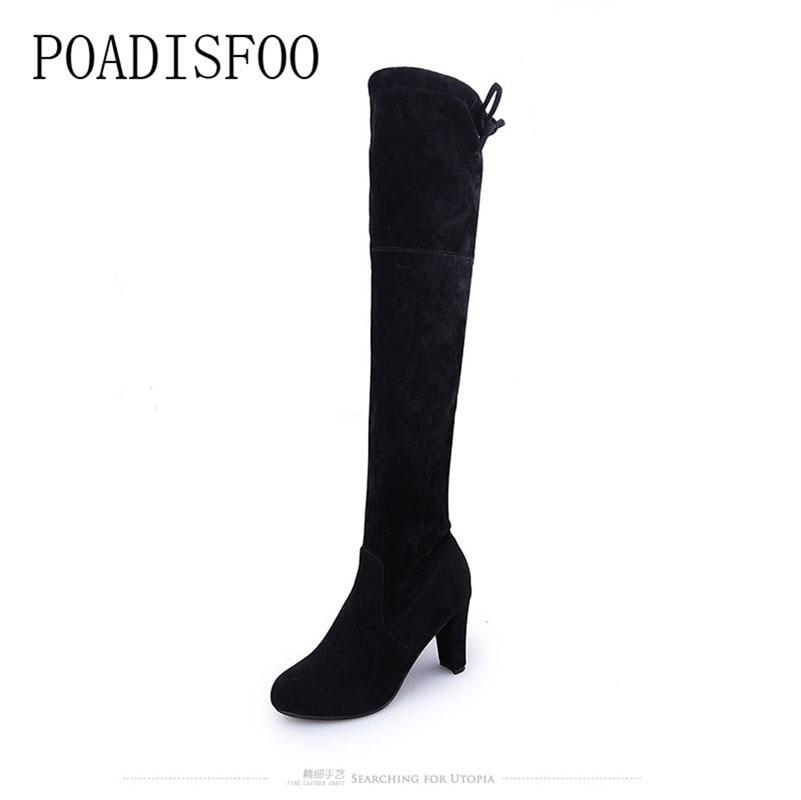 POADISFOO Russia Autumn boots keep warm knee high boots round toe down fur ladies fashion women long boots shoes Cheap .XZ-03