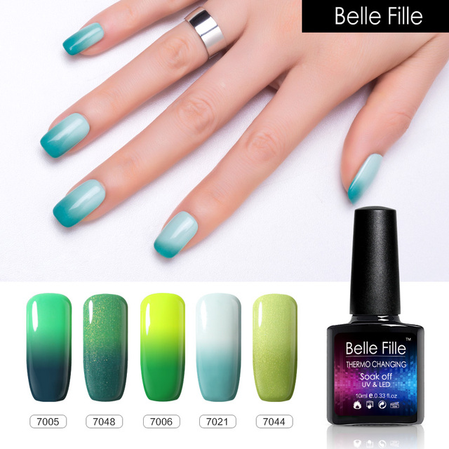 BELLE FILLE Changing color Thermo Temperature Gel nail polish 10ml ...