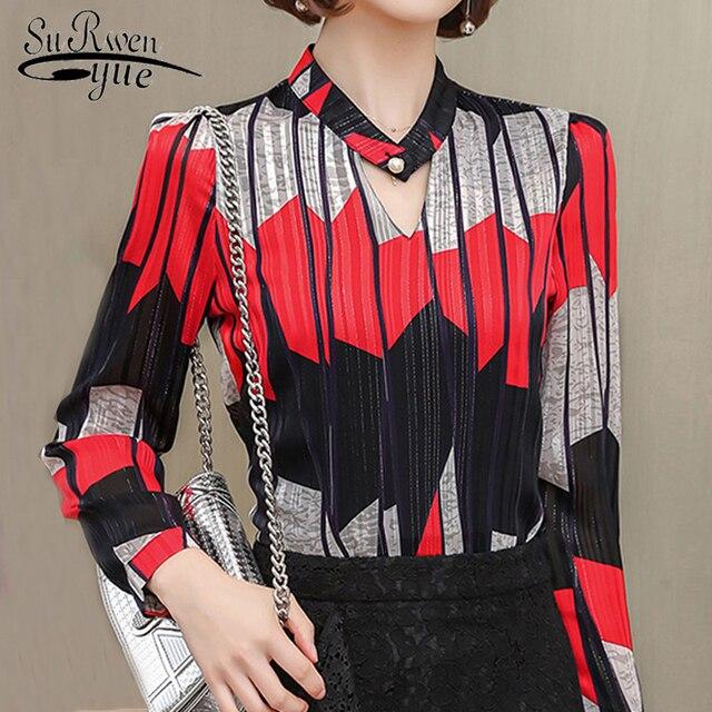 c1d064772f0 blusas mujer de moda 2018 print Striped chiffon blouse women shirts long  sleeve plus size 3XL