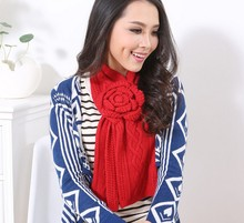 Autumn and winter girls fashion hand hook flower manual knited keep warm Scarves K001