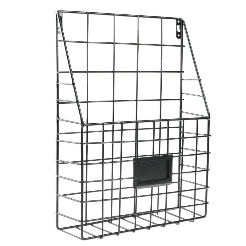 Простой железный настенный стеллаж для хранения, металлическая настенная полка для хранения, настольный держатель, органайзер для журналов для дома, спальни - Цвет: Черный