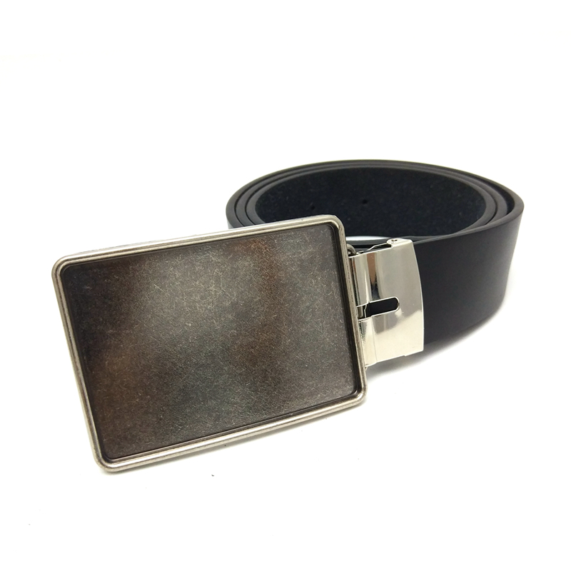 Drop shipping black Pu leather belt men cowboy clip Rectangular blank metal belt buckle mens belts for jeans accessories