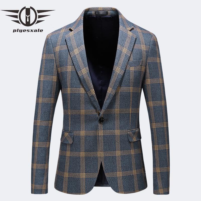Blazer Men Slim Fit 2019 Spring Autumn Mens Plaid Blazer Plus Size Casual Blazers For Men Business Formal Office Jacket Q193