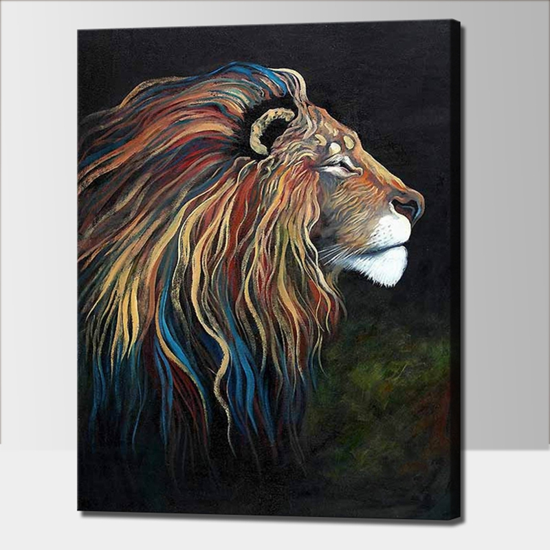 Hand Painted Acrylic Painting On Canvas Colorful Lion Canvas