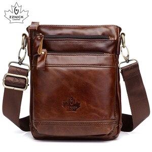 Image 1 - Genuine Leather Bag Handbag Shoulder Mens Bag Small Messenger Leather Crossbody Men Bags 2019 Male Flap Zipper Handbag ZZNICK