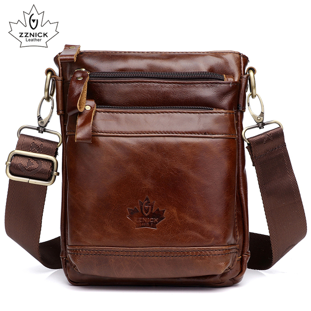 Genuine Leather Bag Handbag Shoulder Mens Bag Small Messenger Leather Crossbody Men Bags 2019 Male Flap Zipper Handbag ZZNICK
