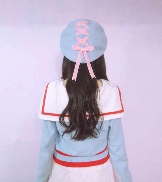... Women Sweet Cute Berets Female Hats Soft Macaron color Ribbon Woolen  Lolita Beret Vintage Soft Straps ... c96aaf5ae37