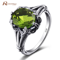 Victoria Wieck Luxury Women August Birthstone Solitaire Ring Olive Peridot 925 Sterling Silver Women Engagement Wedding