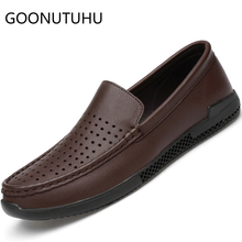 2019 new summer mens shoes casual genuine leather loafers male brown & black slip on shoe man flat driving for men