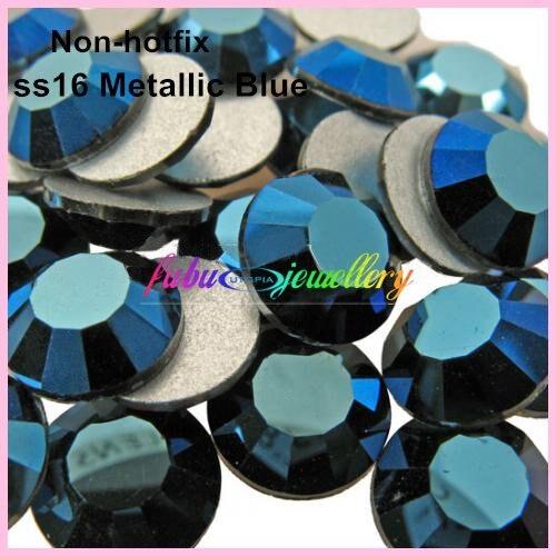 Бесплатная доставка! 1440 шт./лот, SS16 (3.8-4.0 мм) синий металлик плоской задней Дизайн ногтей клей на не об исправлении Стразы