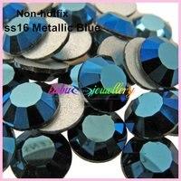 Free Shipping 1440pcs Lot Ss16 3 8 4 0mm Metallic Blue Flat Back Nail Art Glue
