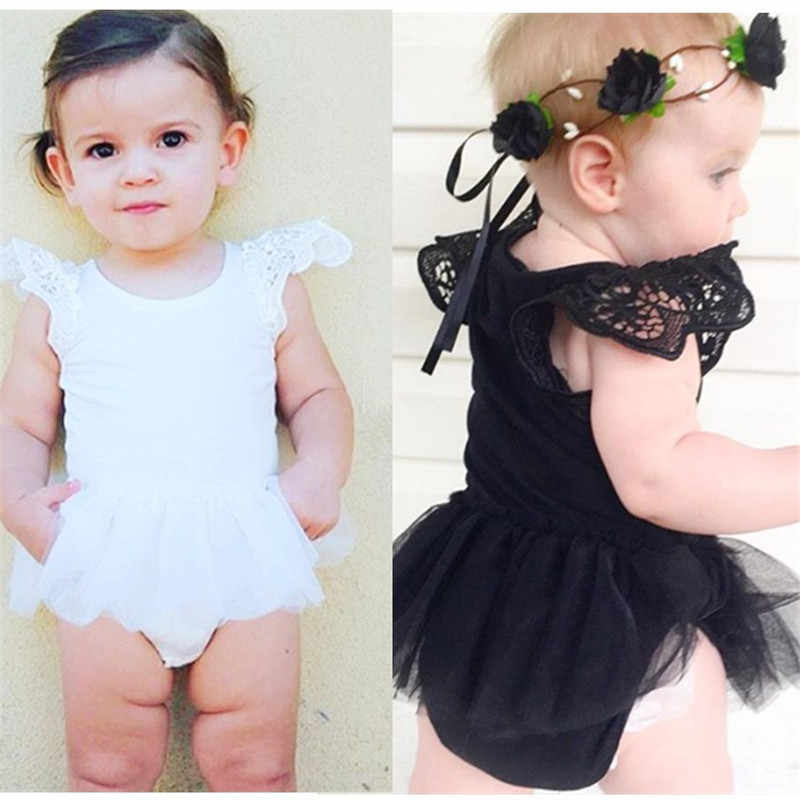 f0cf8f2f969 Summer New Baby Rompers Lace Patchwork Flying Short Sleeve Cotton Mesh Dress  Jumpsuit Newborn White Black