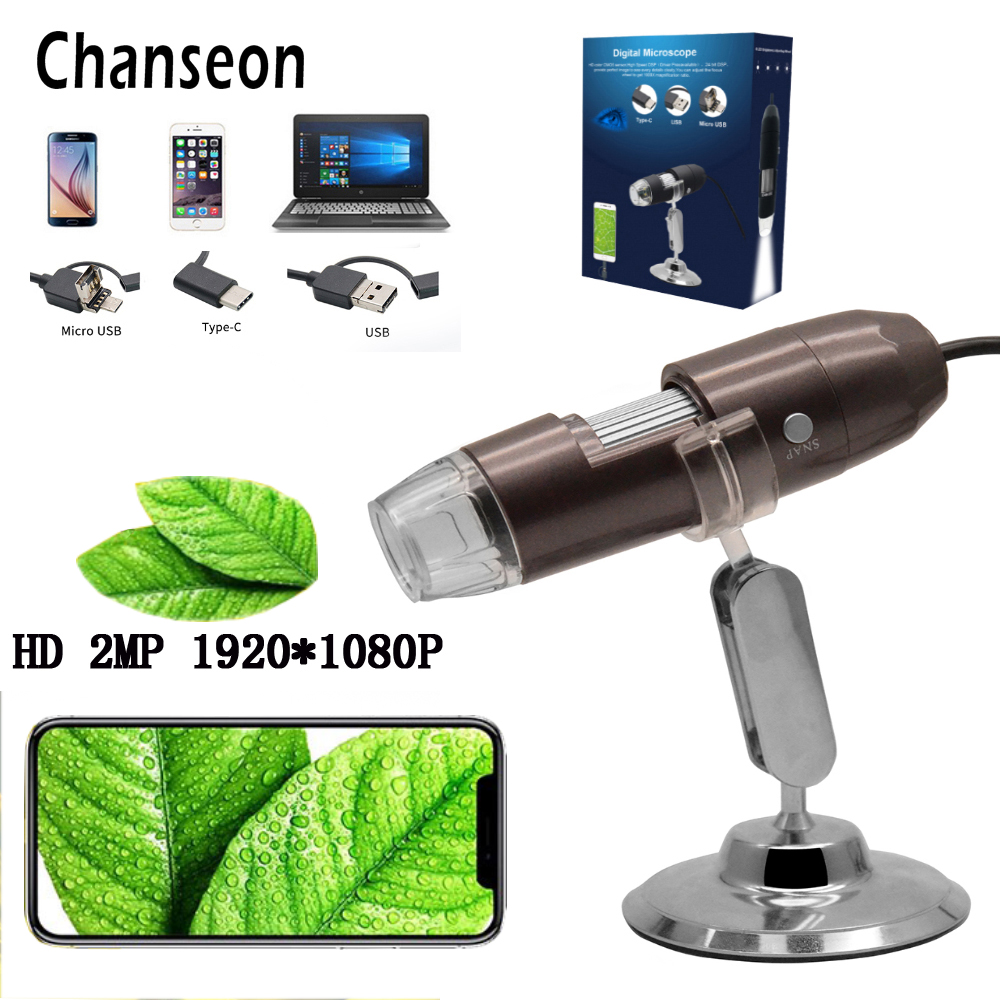 Chanseon HD 2.0 Mega Pixel 1000X3 IN 1 USB Android Tipo-c Stereo Microscopio Elettronico Microscopio Digitale dell'endoscopio Della Macchina Fotografica